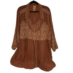 Johnny Was Womens 2X Brown Embroidered Top 3/4 Slv